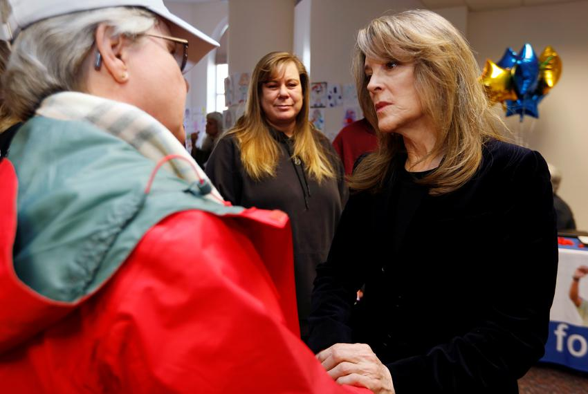 Presidential candidate Marianne Williamson talks to supporters at the Nevada State Legislative Building in Carson City, Neva…