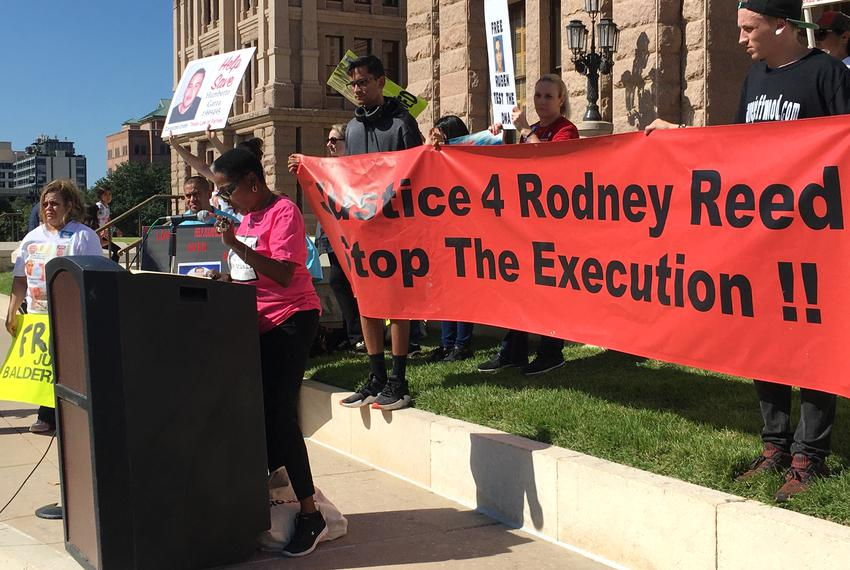 Sandra Reed, Rodney Reed's mother, calls for an end to the death penalty and a fair trial for her son at the Texas Capitol...