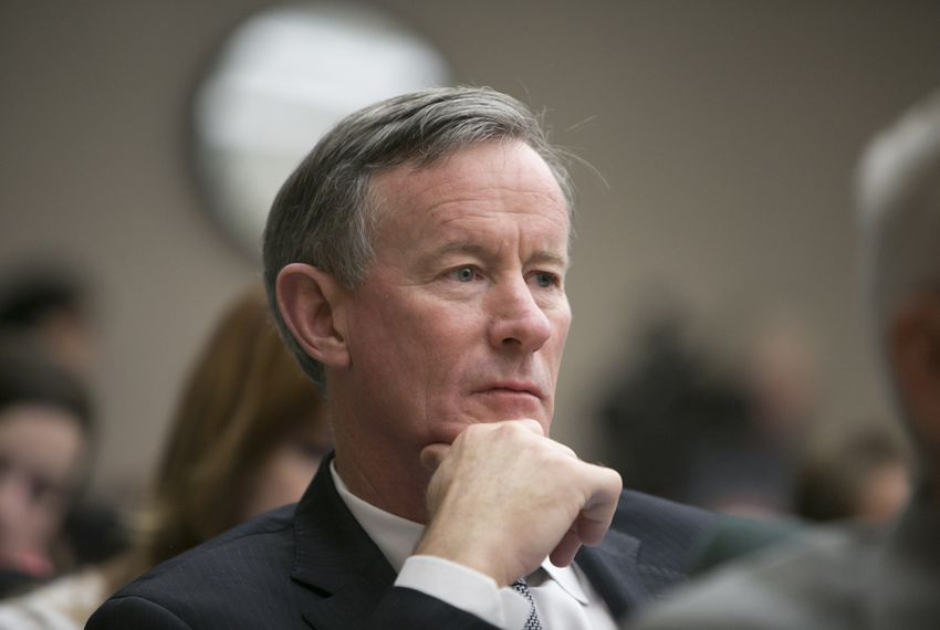 Chancellor if the University of Texas System, Bil McRaven listens in during a House Higher Education Committee hearing on May 10, 2016
