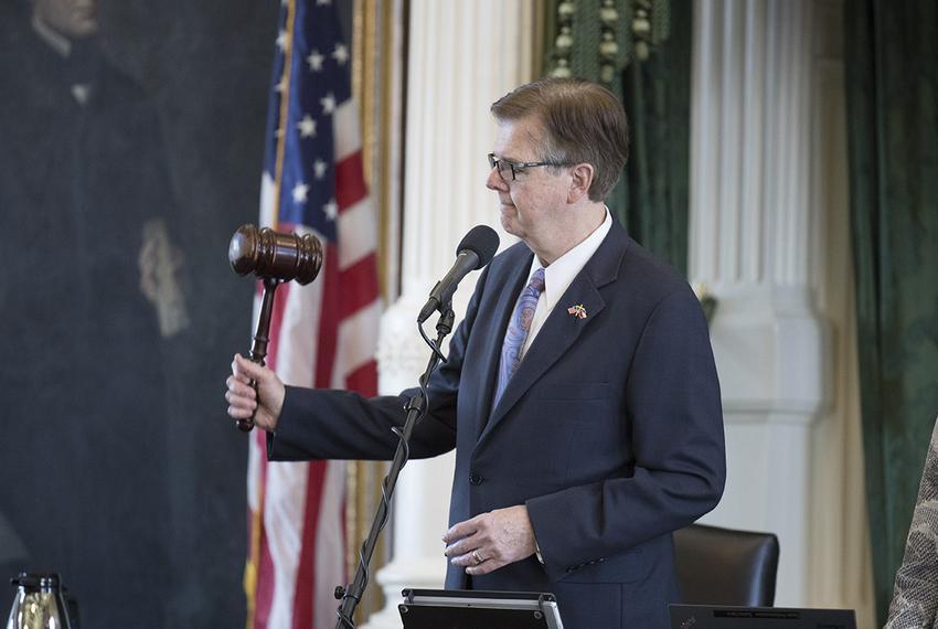 Lt. Gov. Dan Patrick gavels out the state Senate on July 26.