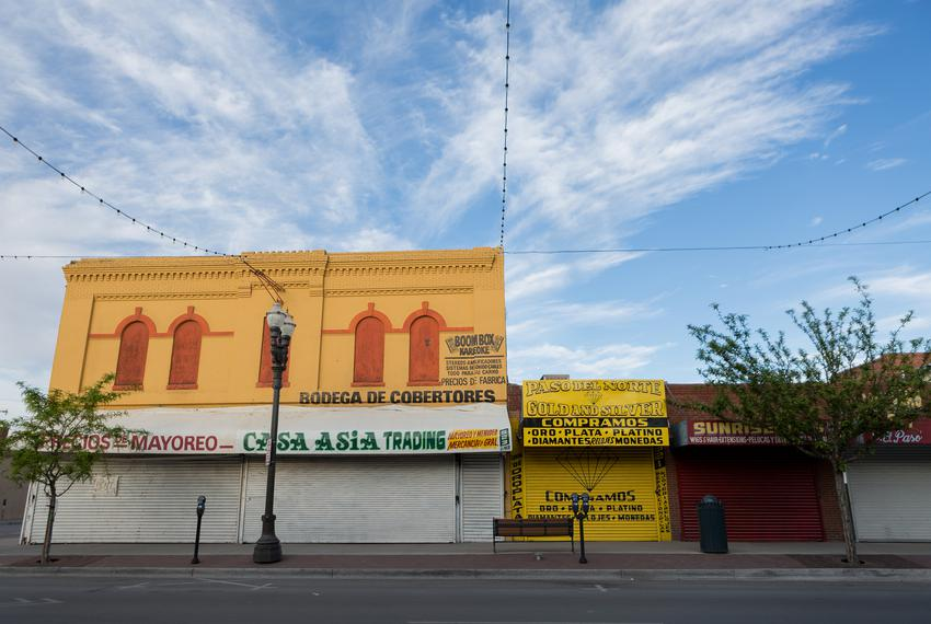 Shuttered store fronts in downtown El Paso during the the coronavirus pandemic.