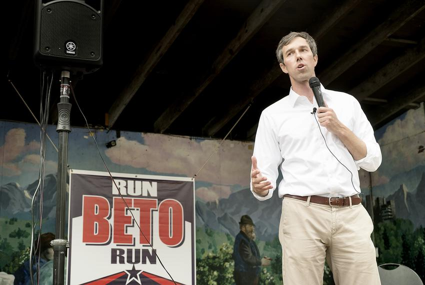 U.S. Rep. Beto O'Rourke, D-El Paso, speaks to a packed crowd at Scholz Garten in Austin on April 1, 2017, one day after laun…
