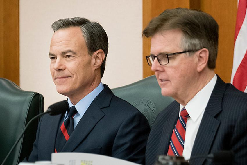 House Speaker Joe Straus and Lt. Governor Dan Patrick at a Texas Legislative Budget Board meeting on December 1, 2016.
