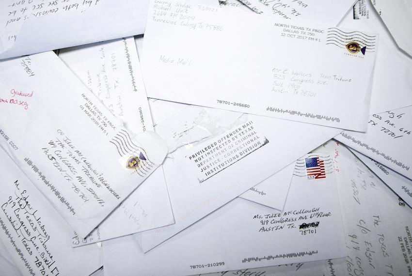 Letters from incarcerated individuals to reporter Jolie McCollough on April 10, 2019.