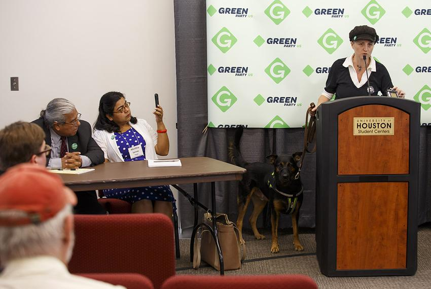 Green Party Secretary of State Katija Gruene, right, speaks about Texas Green Party Railroad Commissioner candidate Martin...