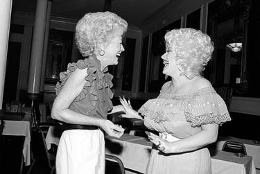 """Ann Richards with Dolly Parton, 1982.  As they were driving to a photo shoot in Austin for her first state treasurer campaign, Newton said, Richards got word that Dolly Parton was at the Driskill Hotel and wanted to meet her.  Newton accompanied her when she decided to swing by the hotel.  """"When they laid eyes on each other, it was from about 50 yards away and they both squealed and ran toward each other like they were old friends,"""" he said. """"When they saw each other it was really just — I was glad I was in the room. I'm glad I got a picture, so that everybody else could be in the room."""""""