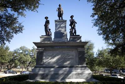 The 1903 Confederate monument at the south entrance to the Capitol grounds claims that Confederate soldiers died for states' rights.