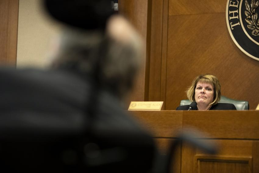 State Rep. Stephanie Klick, R-Fort Worth, listens to testimony on Senate Bill 9  from Mark Cundall with Rev Up Texas. Cundal…