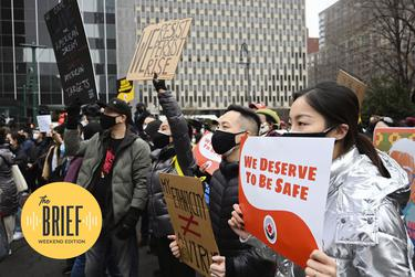 People protest in New York's Manhattan on Feb. 27, 2021, against a recent uptick in hate crimes targeting Asian Americans.