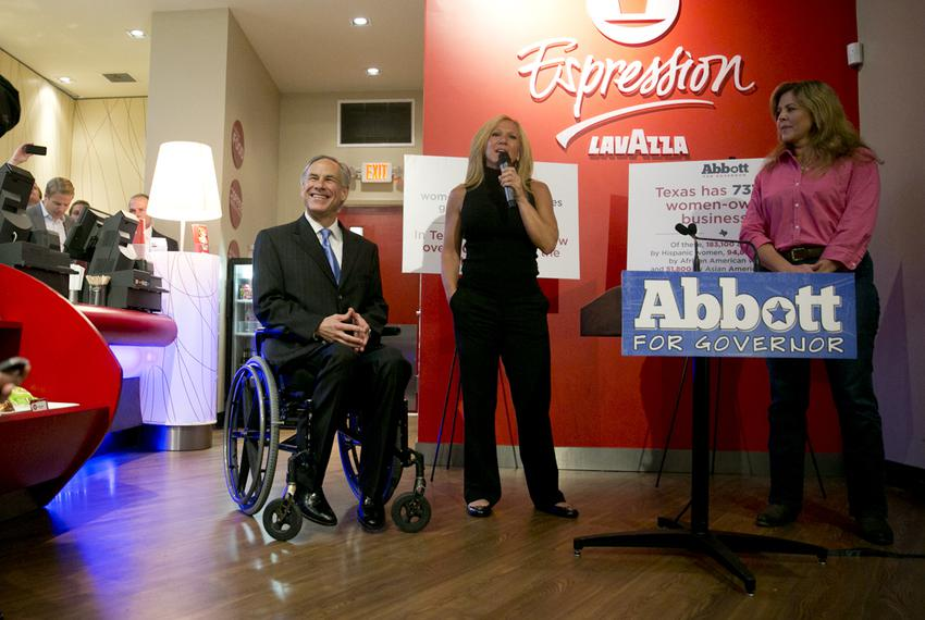 Attorney General Greg Abbott, the GOP nominee for governor, spoke at the Lavazza coffee shop, a few blocks away from where...