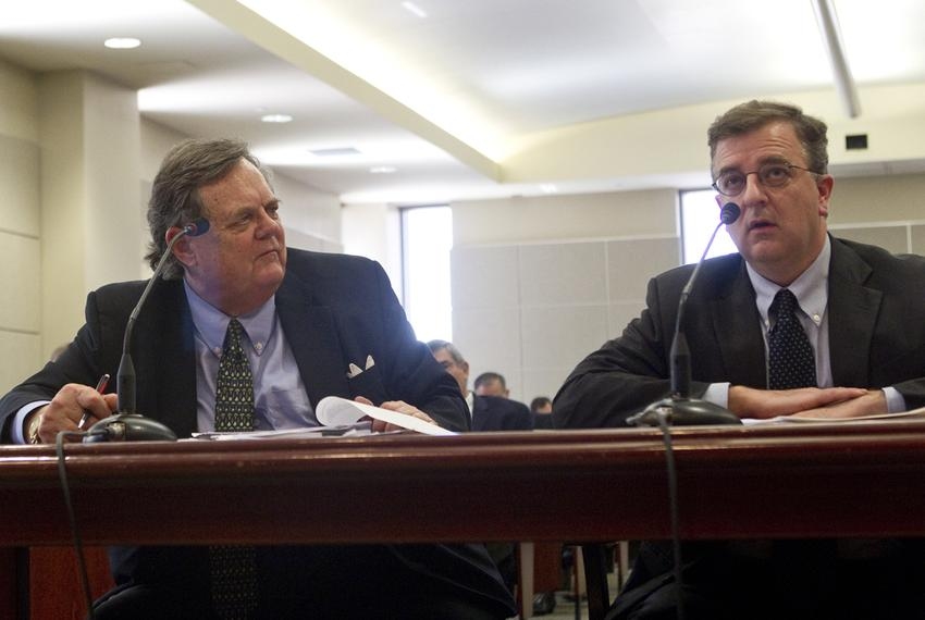 UT Law school foundation president John H. Massey, looks over to UT Law school Dean Ward Farnsworth during a House Committee…