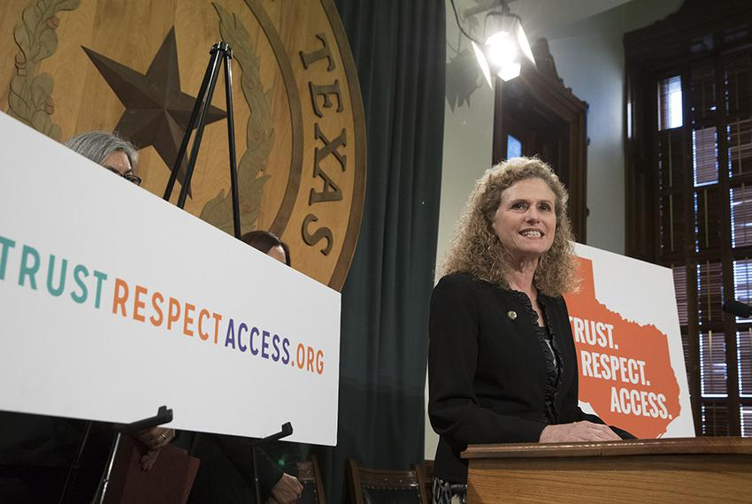 "State Rep. Donna Howard, D-Austin, stands with House colleagues to announce the ""Trust. Respect. Access."" campaign for repro…"