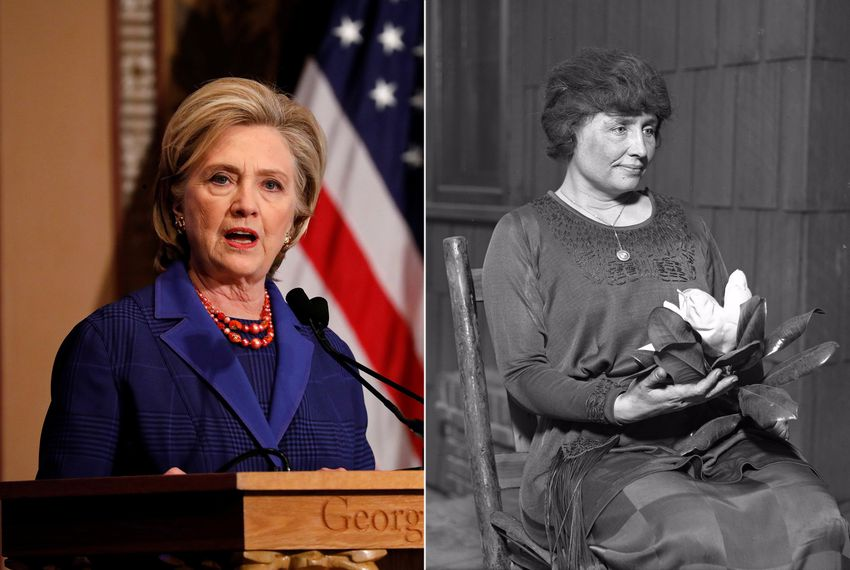 Former Secretary of State Hillary Rodham Clinton and author and political activist Helen Keller (1880-1968).