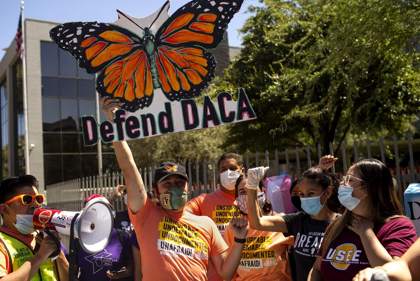 DACA recipients and supporters rally in celebration of the U.S. Supreme Court ruling on the program outside of the Immgrat...