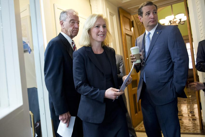 U.S. Sens. Kirsten Gillibrand, D-New York, and Ted Cruz, R-Texas, joined fellow Sen. Charles Grassley (left), R-Iowa, ahead …