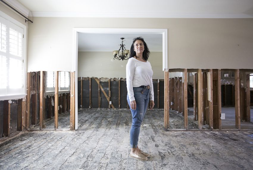 Maria Keene in her home in Houston on Thursday, October 26, 2017. The home where Keene lived for 18 years was damaged by Harvey, forcing her to move to an apartment where she's expected to stay for months as her home is rebuilt.