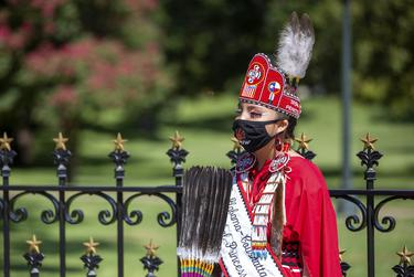 Members of the Alabama-Coushatta Tribe rallied outside of the Capitol on Sept. 25th, 2020 to help increase voter turnout.