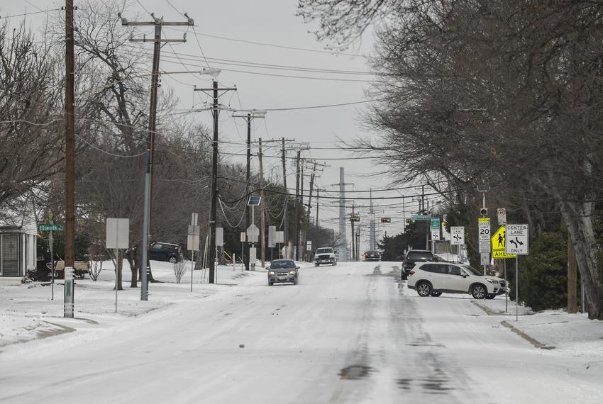 Matilda Street in Dallas after the winter storm that hit the area on Monday.
