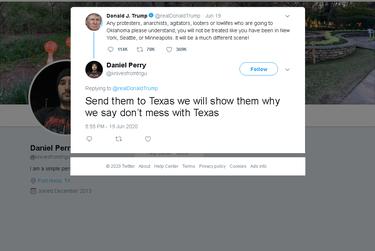 Screenshot of Daniel Perry tweet.