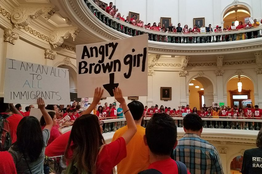 """On the last day of the 85th legislative session, protesters opposed to Senate Bill 4 — the """"sanctuary cities"""" law, fill up the rotunda of the state Capitol in Austin on May 29, 2017."""