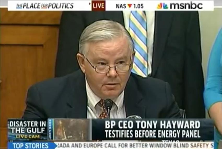 Rep. Joe Barton, R-Arlington, addresses BP chief executive Tony Hayward at an oil spill hearing in Washington.