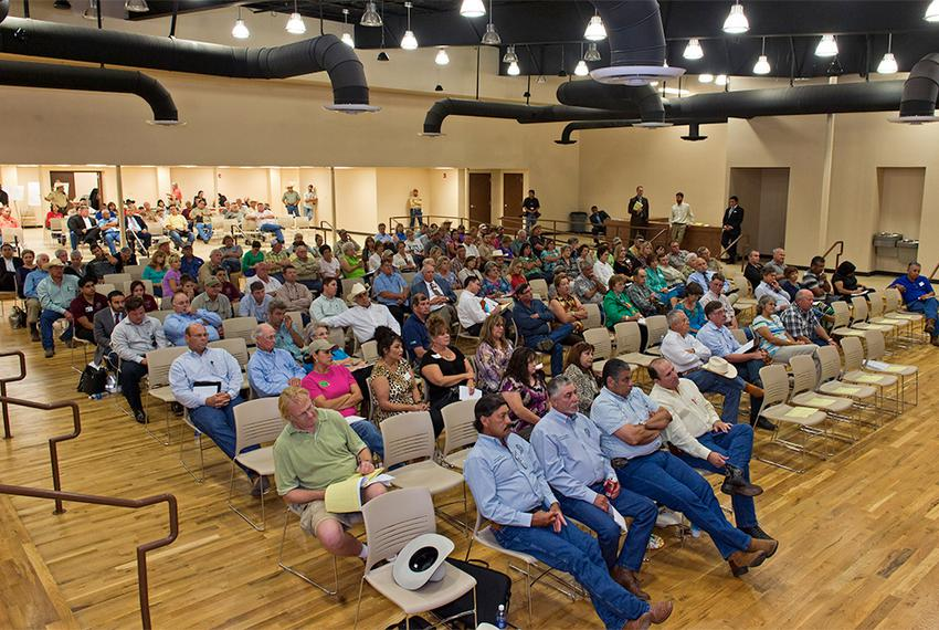 Attendees filled the Alexander Convention Center on Tuesday evening for a Texas Department of Transportation hearing in Co...