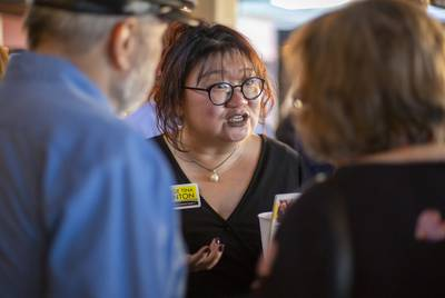 Democratic candidate for Texas Court of Criminal Appeals Judge Tina Clinton at the Texas Justice Tour event in Cedar Park on Feb. 16, 2020.