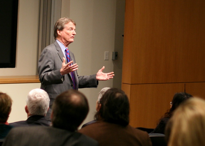 Bill Powers speaks about budget cuts at The University of Texas on Tuesday, February 2nd.