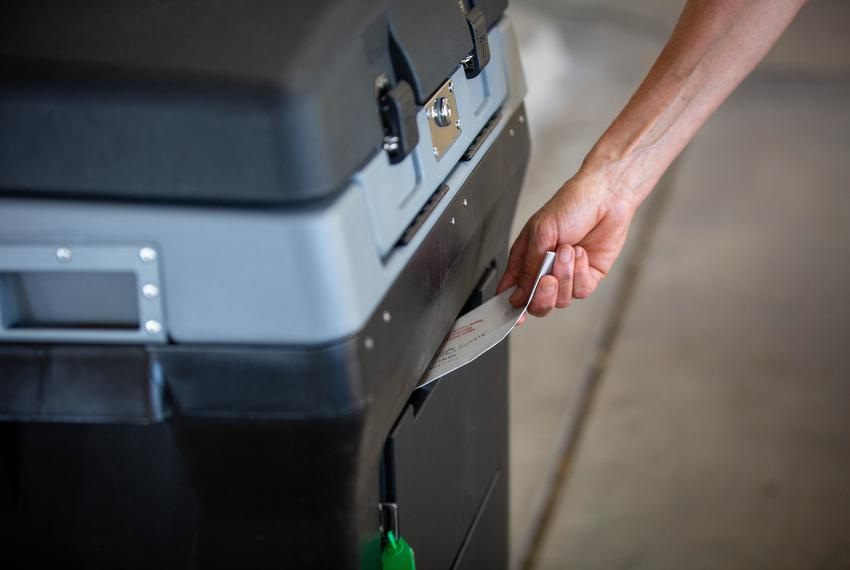A ballot drop-off location in Austin on Oct. 1, 2020, where voters can safely hand deliver their ballots by Election Day.