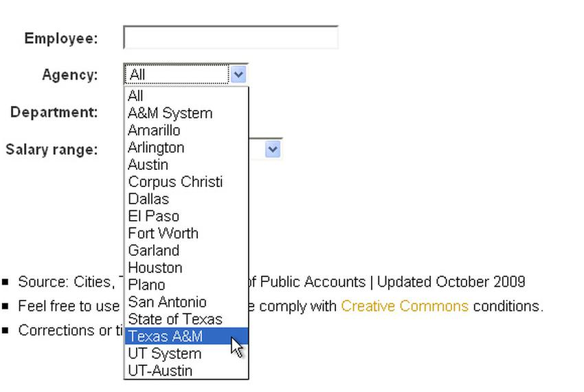 Search for payroll information at multiple state agencies, cities and universities in Texas.