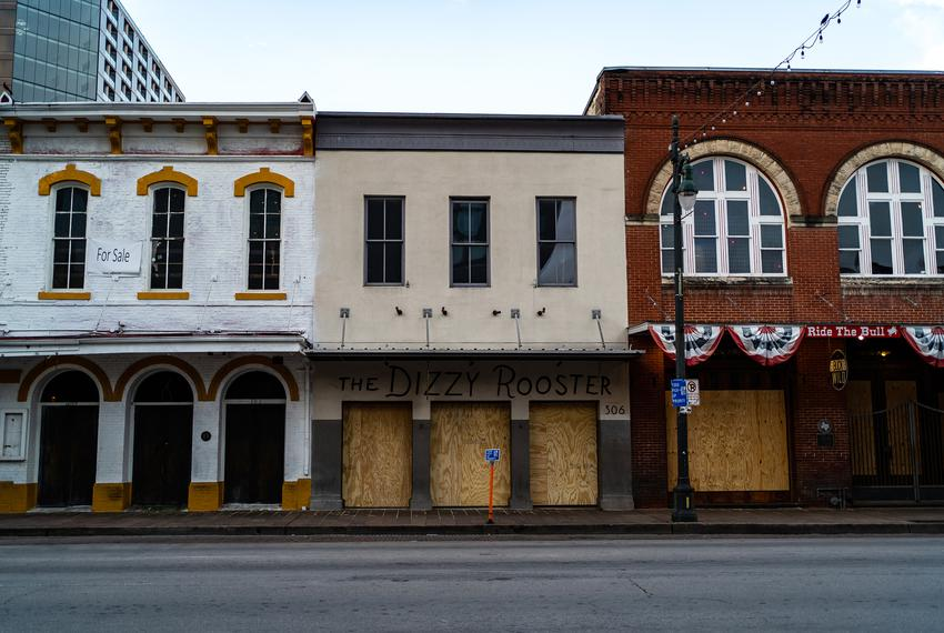 Shuttered bars on Austin's Sixth street during the COVID-19 pandemic on March 19, 2020.