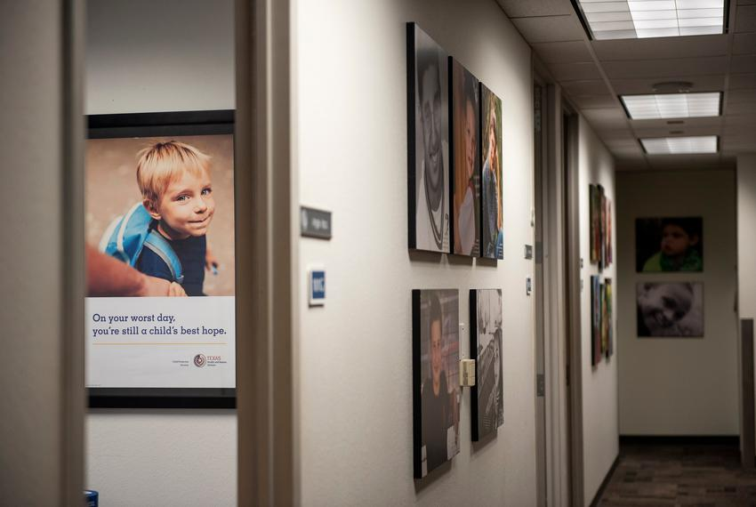 Heart Galleries, portraits of adoptable children, on display at the Child Protective Services office at the Texas Department…