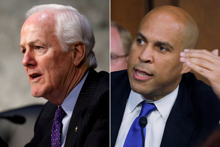 U.S. Sens. John Cornyn, R- Texas (left), and Cory Booker, D-N.J.