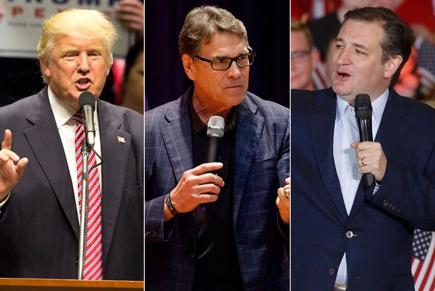 Republican nominee for president Donald Trump, former Texas Governor Rick Perry and U.S. Sen. Ted Cruz.