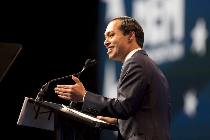Julián Castro gives the keynote speech at the Texas Democratic Convention at the Alamodome on June 17, 2016.