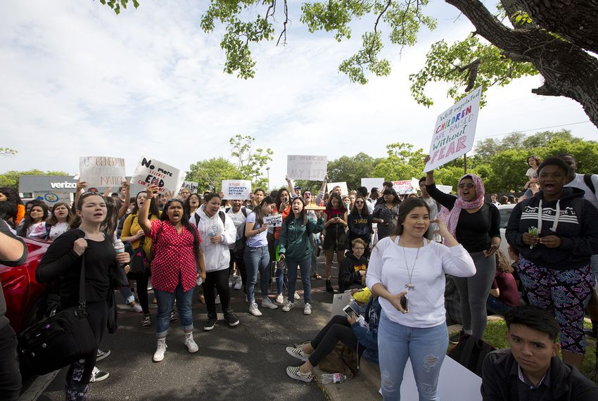 Students from Stony Point High School in Round Rock participate in a student-driven walkout calling for action against gun violence on April 20, 2018, the 19th anniversary of the Columbine High School massacre in 1999.