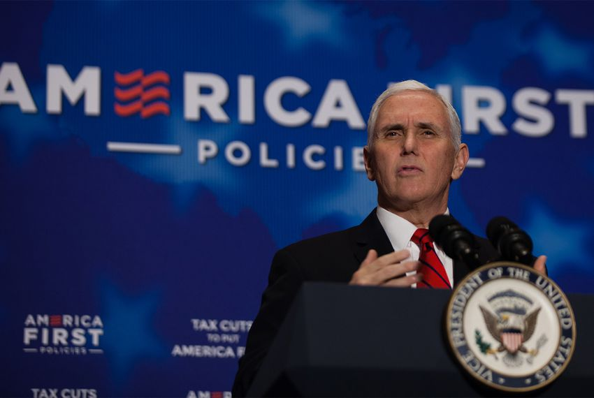 Vice President Mike Pence speaks at anAmerica First Policies event in Dallas on Saturday, Feb. 17, 2018.