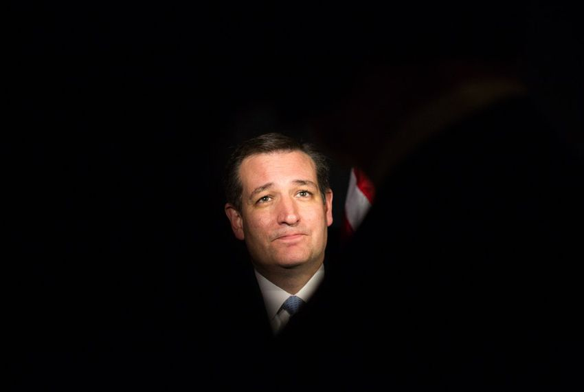 Senator Ted Cruz speaks to Texas reporters in Columbia following the South Carolina Republican presidential primary, Saturday night, February 20, 2016.