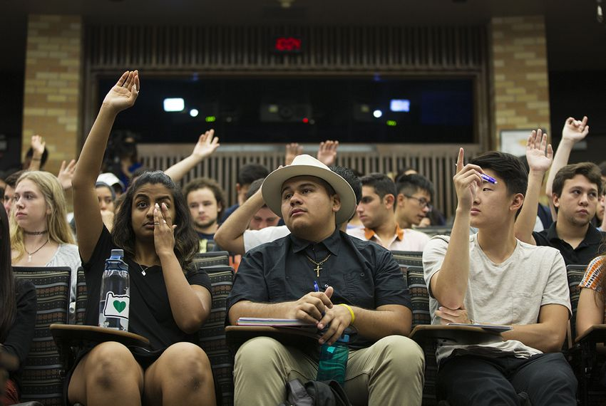 Students listen to Secretary Cascos during a UT undergraduate course about what they need to know to vote in November.