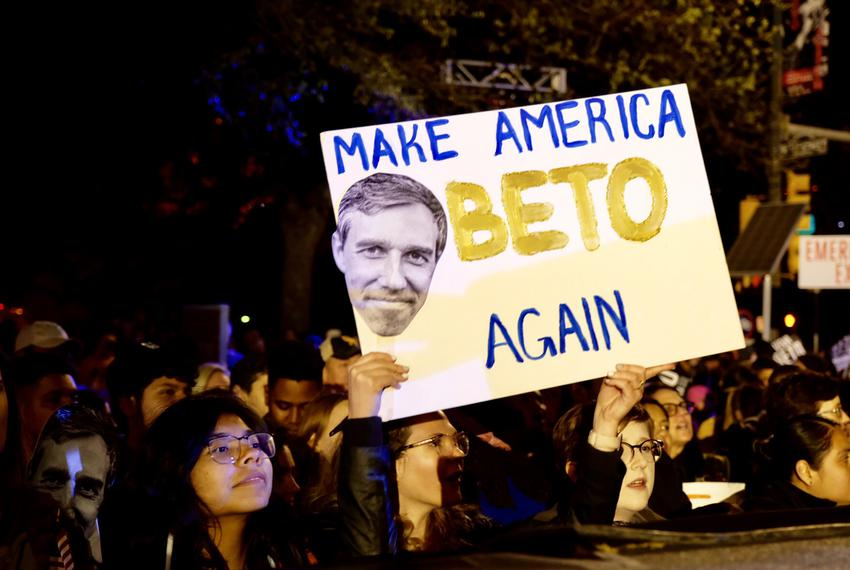 Supporters attend a rally in Austin for Democratic presidential candidate Beto O'Rourke on March 30, 2019.