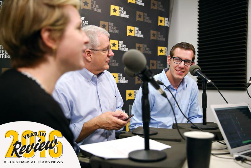 Texas Tribune Editor-in-Chief Emily Ramshaw, left, hosts the TribCast on April 20, 2016. Joining her are Executive Editor Ro…