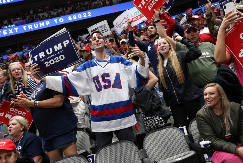 Supporters of President Donald Trump attended a rally Thursday in Dallas.