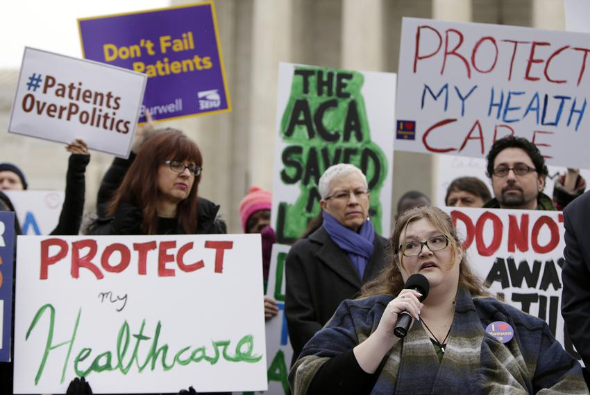 Protestors gathered in front of the Supreme Court in Washington D.C., in 2015, to show support for the  Affordable Care Act.