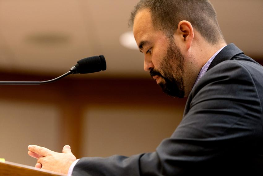 State Rep. Joe Moody, D-El Paso, testifies on his bill that would let those serving a life sentence for crimes committed und…