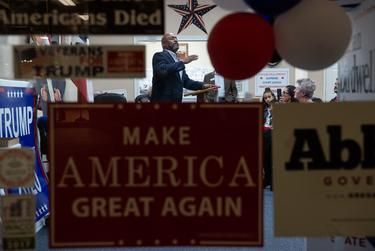 Frederick Douglass Republicans Engagement Strategy creator KCarl Smith speaks at a Black Voices for Trump event, a nationwide initiative to sway voters, at the McLennan County Republican Headquarters in Waco on Feb. 26, 2020.