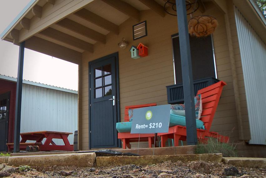 A micro-home at Community First Village, a 27-acre community that will house some 250 chronically homeless Austinites. Gri...