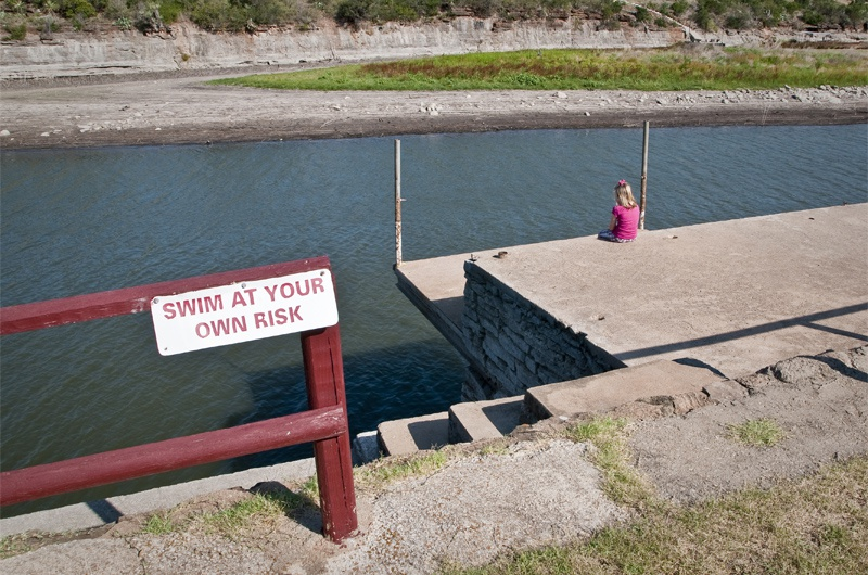 At Thunderbird Resort on Lake Buchanan, a 15-foot gap has developed between this swimming platform and the water line, as the lake has fallen to 12 feet below full.