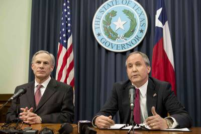 Texas Gov. Greg Abbott, left, and Attorney General Ken Paxton, both Republicans, have called for judges to stop doctors from taking Tinslee Lewis off of life support.