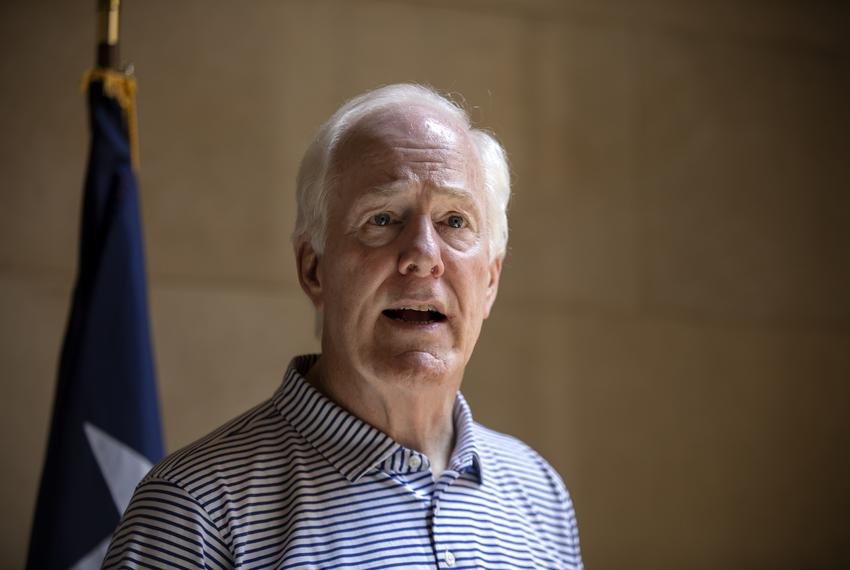 U.S. Senator John Cornyn speaks to the press at the University of Texas at Austin tower in Austin on June 14, 2019.