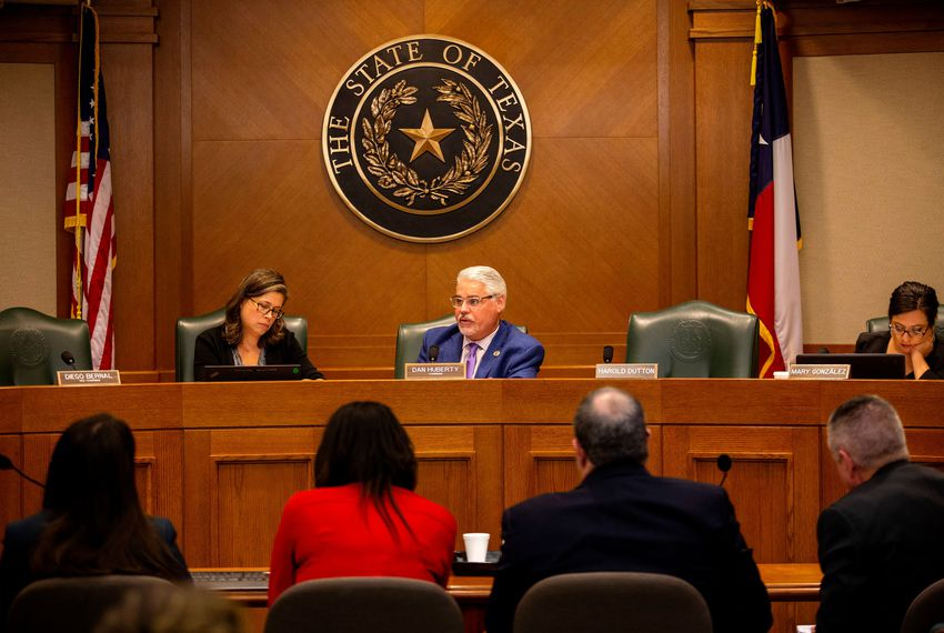 State Rep. Dan Huberty, R-Houston, listens to testimony on the unintended consequences of House Bill 3 during a House Public Education Committee hearing on Oct. 28, 2019.